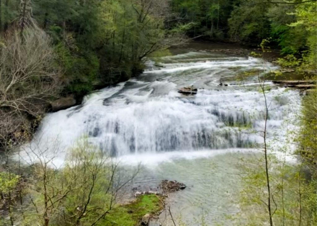 burgess falls state park, photo of smaller but wider waterfall in the park, flowing into green water and the river is surrounded by green trees.